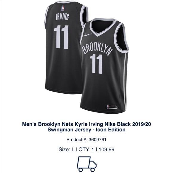 Brooklyn Nets Kyrie Irving Nike Black 1819 Jersey NWT